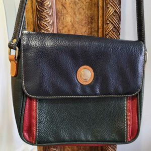 Color block leather crossbody bag (Alfred Sung)